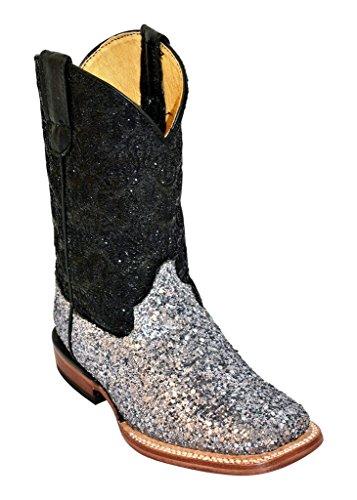 Ferrini Kids Silver Pixie Dust S-Toe Cowboy Boots 11.5 M