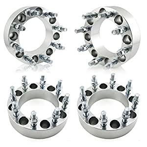 "Orion Motor Tech 4pcs Wheel Spacers / Adapters for Dodge Ram 2500 3500 Ford F250 F350 - 8 Lug 8x6.5 / 8x165.1 - 2"" Thickness - 9/16"" STUDS"