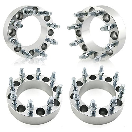 OrionMotorTech 8x6.5 Wheel Spacers 2 inches with 9/16-18 Studs for 1994-2011 Dodge Ram 2500 3500, 1988-1998 Ford F-250 F-350, 4pcs ()