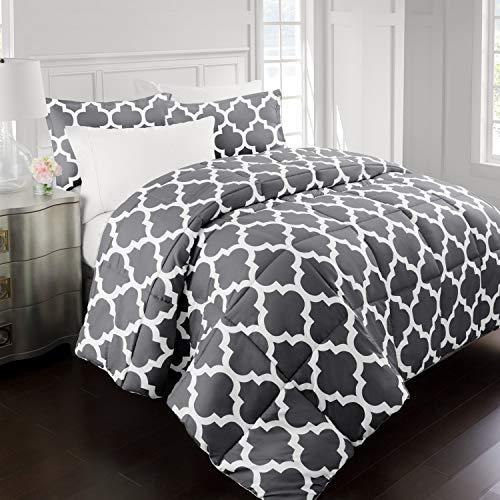 Sleep RestorationLuxuryGoose Down Alternative Quatrefoil Comforter – Premium Hypoallergenic All Season Duvet – King/Cal King – Gray
