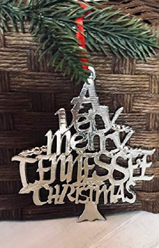(1079 Very Merry Tennessee TN Christmas Ornament Pewter )