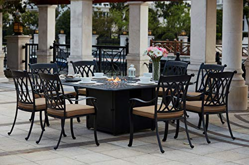 Patio Dining Set. Outdoor Modern Classic Furniture Kit of Cast Aluminum for Porch, Lawn, Pool, Garden, Seating 8 Person. Outside, Square Fire Pit Table, Stack Chairs, Cushions (Antique Bronze/Sesame)