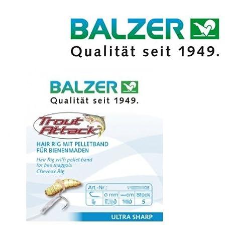 10 16071010 Bienenmadenhaken Haken Balzer Trout Attack Hair Rig f/ür Bienenmaden 60cm Gr