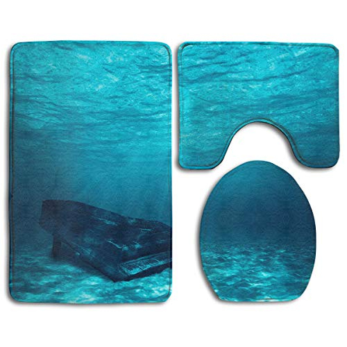 Piano Underwater Bathroom Rug Sets 3 Piece Non-Slip Floor Mat Contour Rug Toilet Lip Cover
