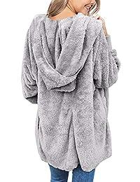ACKKIA Abrigo con capucha, con bolsillos grandes y parte frontal abierta, casual, para mujer