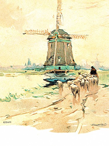 Painting Postcard Edam Netherlands Henri Cassiers Windmill Poster Print