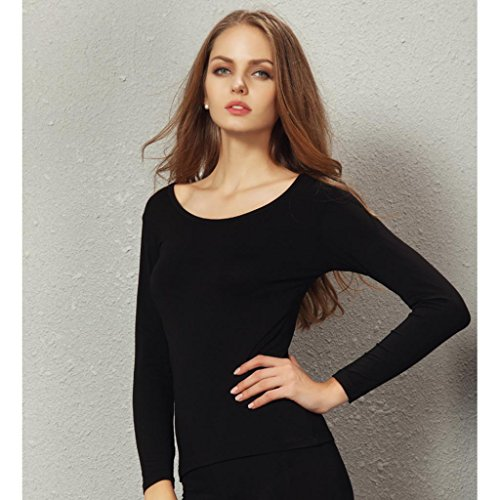 Liang Rou Women's Plain Basic Scoop Neck Thin Stretch Long Sleeve Top Black S XS-S (0 2 4 6) 1 Piece Black by Liang Rou (Image #2)