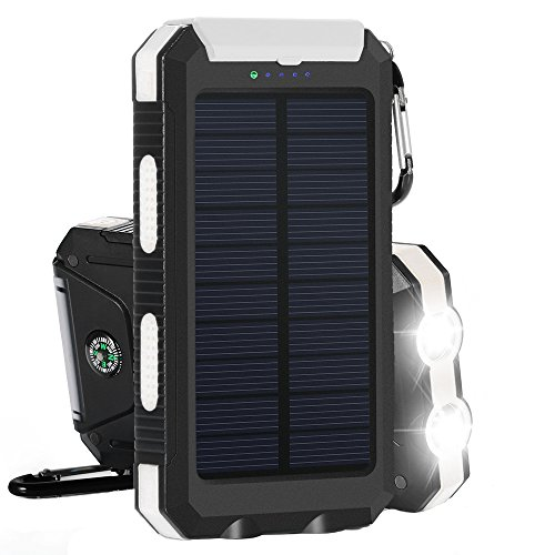 Solar Charger  Solar Power Bank 10000Mah External Backup Battery Pack Dual Usb Solar Panel Charger With 2Led Light Carabiner Compass Portable For Emergency Outdoor Camping Travel White