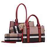 Dana Plaid Studded Satchel Bag with Matching Satchel, Clutch, & Wallet - 4 Piece Set