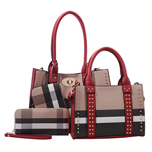Dana Plaid Studded Satchel Bag with Matching Satchel, Clutch, & Wallet - 4 Piece Set by Epic Chic