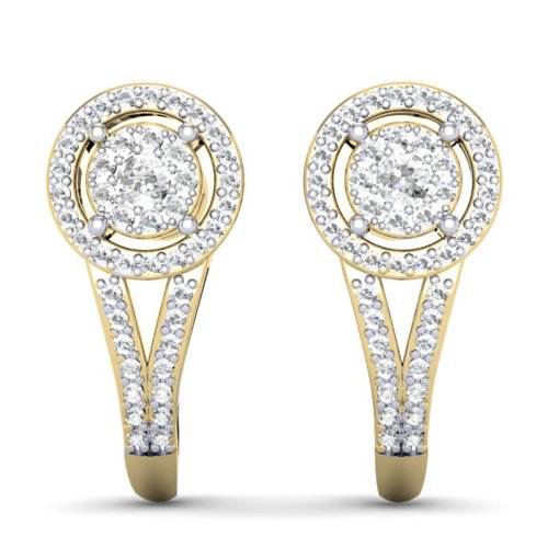 0.50 Carat (ctw) 14K Yellow Gold Round White Diamond Ladies Double Frame Halo Style Hoop Earrings 1/2 CT by DazzlingRock Collection