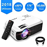 2018 Newest ABOX T22 Portable LCD Video Projector, GooBang Doo Multimedia Home Theater Video Projector Support 1080p HDMI USB SD Card VGA AV for Home Cinema TV 60 ANSI Lumens- White
