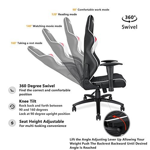 ... Andaseat Gaming Racer Chair Ergonomic High Back Recliner Office Desk  Chair Swivel Rocker Tilt E ...