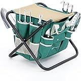 SONGMICS 8 Piece Garden Tool Set w/ Tool Bag Folding stool & Trowel Transplanter Cultivator Weeding Fork Weeder Pruner All-in-one UGGS39L