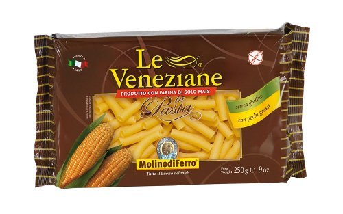 Le Veneziane - Italian Tubetti Rigate Pasta [Gluten-Free], (4)- 8.8 oz. Pkgs by Le Veneziane