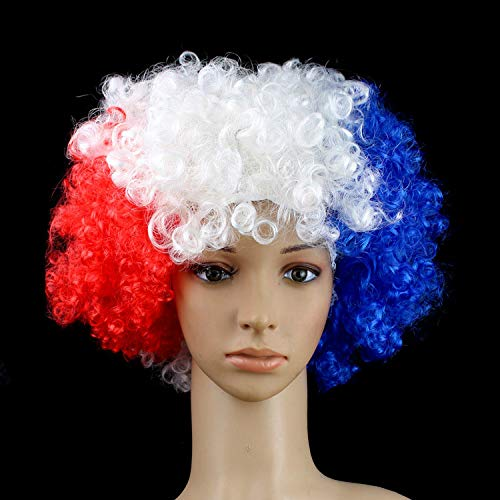 Flag Color Wigs Football Fans Party Headwear Festival Carnival Props Christmas Halloween Cosplay Clown Hat Curls France