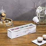 MyGift 5-Compartment Shabby Whitewashed Wood Tea
