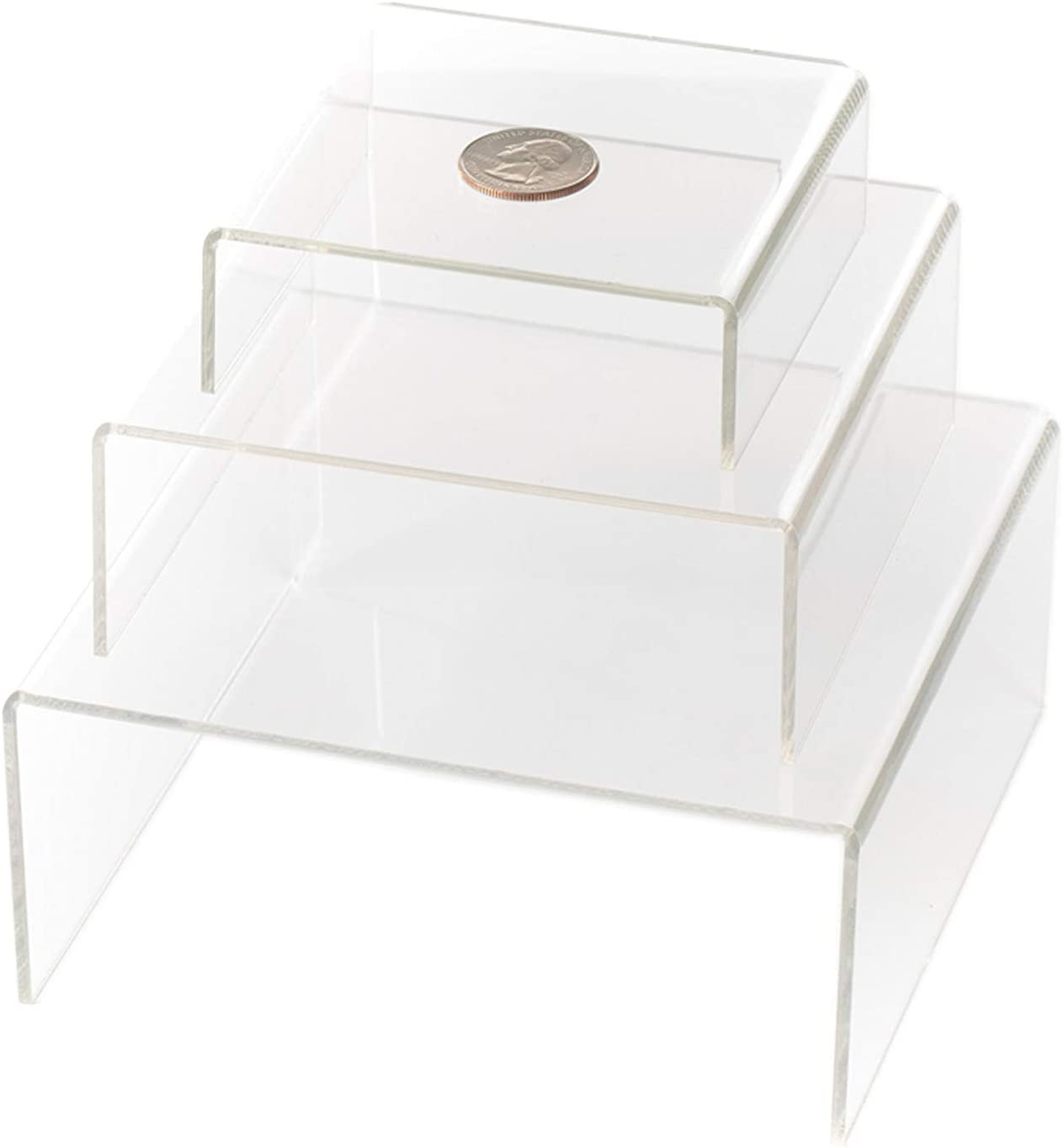 HUJI Clear Medium Low Profile Set of 3 Acrylic Risers Display Stands (1 Set, Clear Acrylic Risers)