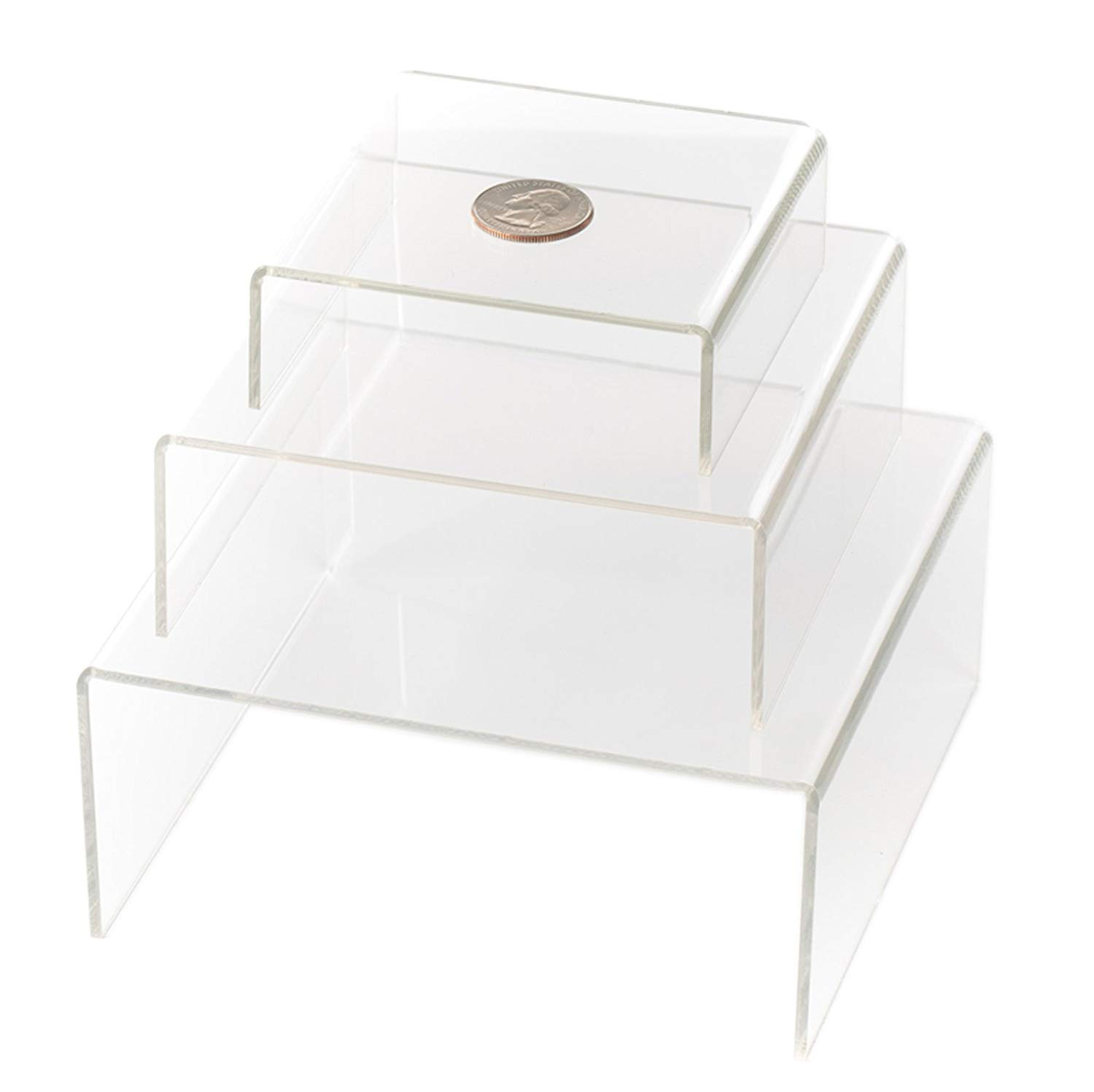 Huji Clear Medium Low Profile Set of 3 Acrylic Risers Display Stands (2 Set, Clear Acrylic Risers) by Huji (Image #1)