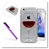 iPhone 6 Case, iPhone 6S Case, EMAXELER 3D Creative Painted Design Flowing Liquid Floating Bling Shiny Beautiful Polycarbonate Hard Case for iPhone 6/6S+Stylus Pen(Red Wine Cup)