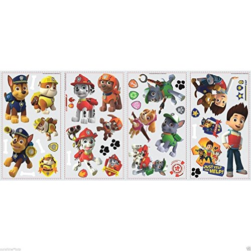 New 37 Paw Patrol Figures Wall Decals Zuma Rocky Skye Chase Marshall Rubble Stickers