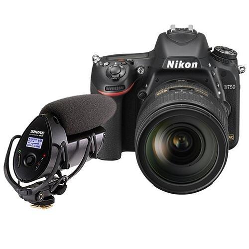 Nikon D750 FX-Format Digital SLR Camera with AF-S NIKKOR 24-120mm f/4G ED VR Lens, - Bundle Shure VP83F LensHopper Camera-Mount Condenser Microphone