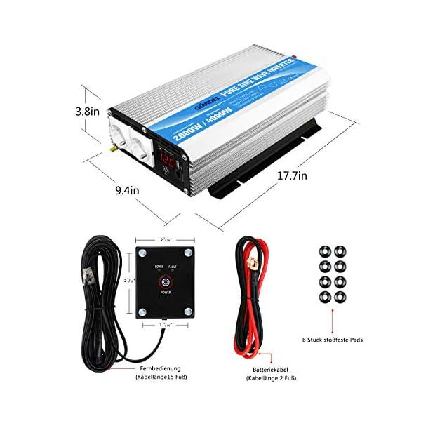 515bCQcNmQL 2000W Spannungswandler 12V auf 230V/240V Reiner Sinus Wechselrichter Konverter mit AC-Steckdosen mit Fernbedienung für…