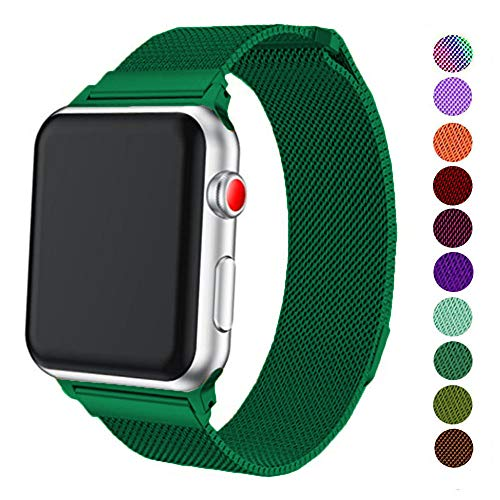 DELELE Compatible for Apple Watch Band 38mm 42mm 40mm 44mm, Milanese Loop Magnetic Metal Replacement Strap with Magnet Lock for Apple iWatch Series 4/3 / 2/1 Women Men (Blackish Green, 42mm/44mm)