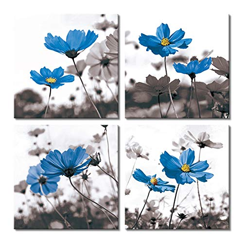 Picabala Blue Chrysanthemum Flower Printed Wall Art Square Canvas Painting Abstract No Frame Picture Photo Giclee Print on Canvas Still Life Artworks Poster for Home Office Decoration 4 pcs 12x12in-E