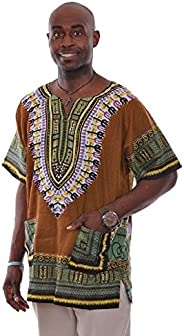 Bronze Traditional African Print Dashiki Shirt Small to 6XL Plus Size