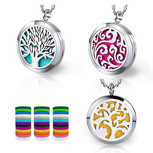- 3 PCS Aromatherapy Essential Oil Diffuser Necklace, Narchery Stainless Steel Patterns Pendant Locket Perfume Necklace with 36 Pcs Felt Pads