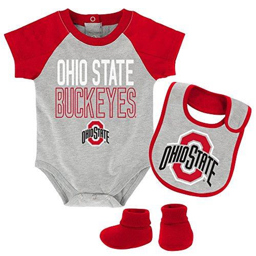 NCAA Ohio State Buckeyes Newborn & Infant Blitz Bodysuit, Bib & Booties, Heather Grey, 12 Months by NCAA by Outerstuff
