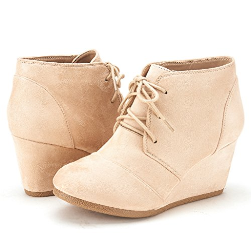 DREAM PAIRS Womens Fashion Casual Outdoor Low Wedge Heel Booties Shoes Tomson-beige JtDmXXfMA