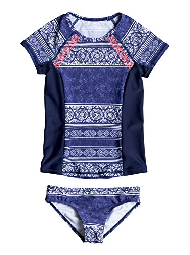 Roxy Big Pop Neon Short Sleeve Lycra Rashguard Set, Tropic Wax Girl Combo Blue Deep, 8/S