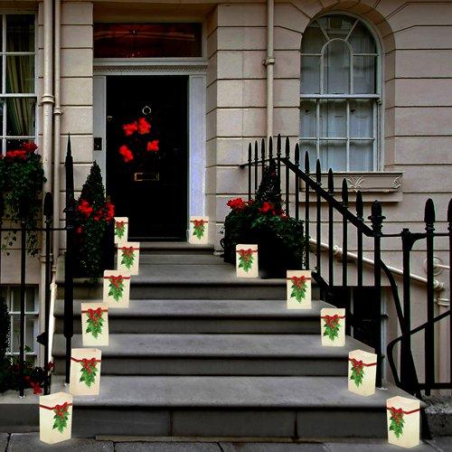 LumaBase Festive Lighting Decorative LumaLite Luminaria Kit Holly 6ct