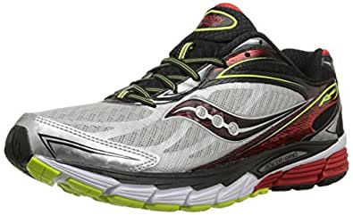 Saucony Men's Ride 8 Wide Running Shoe, Silver/Red/Citron,7.5 W US