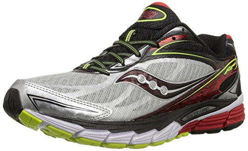 - Saucony Men's Ride 8 Running Shoe, Silver/Red/Citron,10.5 M US