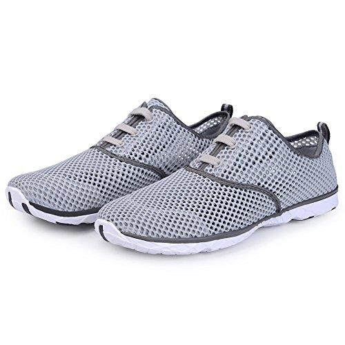 KALEIDO Herren Mesh Slip On Schnell Trocknende Wasser Schuhe Grey2