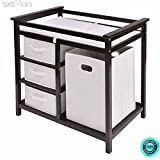 SKEMiDEX--- Espresso Infant Baby Changing Table w/3 Basket Hamper Diaper Storage Nursery New This Baby Changing Table keeps everything tidy and concealed for a clean look in the nursery.