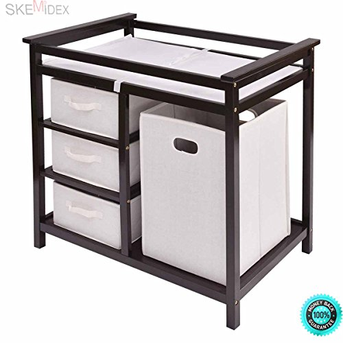 SKEMiDEX--- Espresso Infant Baby Changing Table w/3 Basket Hamper Diaper Storage Nursery New This Baby Changing Table keeps everything tidy and concealed for a clean look in the nursery. by SKEMiDEX
