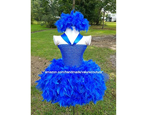 Blue Feather Inspired Tutu Dress Costume Pageant Birthday Halloween Girls Newborn Infant Toddler Baby Outfit Onesie Shirt Bow Party Princess Kids Gift Topper Favors ()