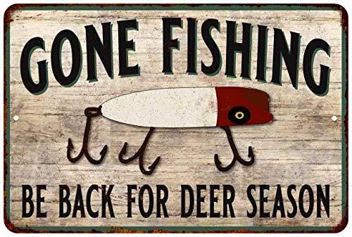 Corner Creek Deer (Chico Creek Signs Gone Fishin' Deer Season Vintage Look Distressed 8x12 Metal Sign 108120020121)