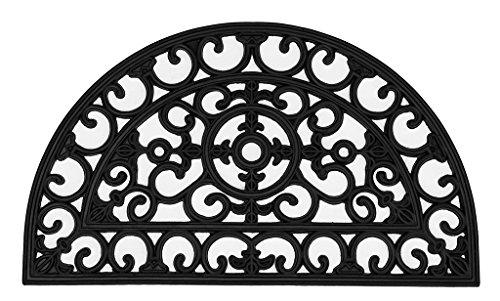 (Envelor Home and Garden Fleur De Lis Wrought Iron Rubber Doormat Indoor Outdoor Shoe Scraper Outside Entrance Floor Mat 18 x 30 Inches )