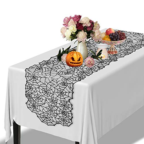 Alcoon 80 x 20 Inch Halloween Black Lace Spider Web Table Runner for Halloween Party Table Decorations Home Dinner Parties and Scary Movie Nights