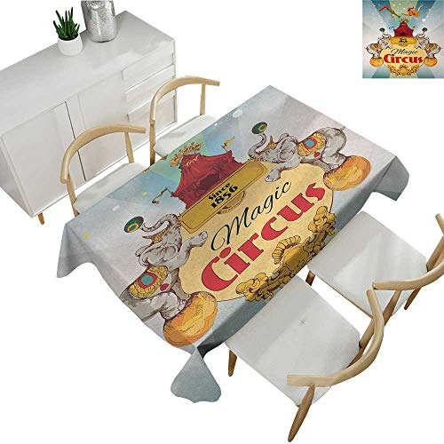 """Circus Decor,Oblong Tablecloth Magic Circus Tent Show Announcement Vintage Style Aerialist Acrobat Tablecloth for Rectangle Table Multicolor 70""""x 90"""""""