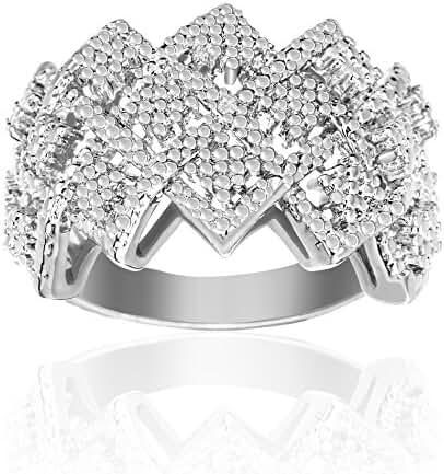Lumineux Diamond Womens Gold/Silver Diamond Accent Checkerboard Zigzag Open Work Ring, 18K White Gold & Rhodium Plated Brass