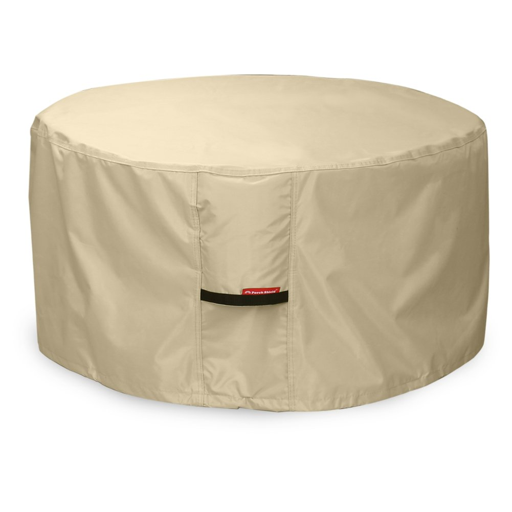 Porch Shield 600D Heavy Duty Patio Round Fire Pit/Table/Bowl Cover 36 inch, 100% Waterproof, Beige