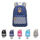 Queenie - Cotton Canvas School Backpack Casual Daypack Shoulder Bag for Teens Girls Boys (8833 Royal Blue)