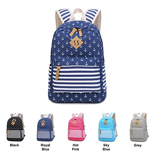 Queenie - Cotton Canvas School Backpack Casual Daypack Shoulder Bag for Teens Girls Boys (8833 Royal Blue) by Queenie