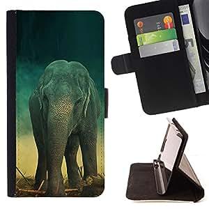 Jordan Colourful Shop - elephant teal trunk vintage cute retro For Apple Iphone 6 PLUS 5.5 - < Leather Case Absorci????n cubierta de la caja de alto impacto > -